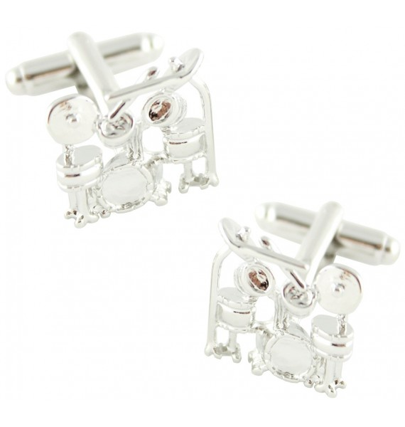 Silver Plated Drums Cufflinks
