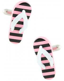 Black and Pink Striped Flip Flop Cufflinks