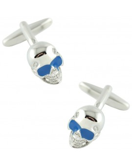 Blue Glasses Skull Cufflinks