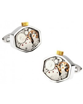 Octagon Silver Watch Movement Cufflinks