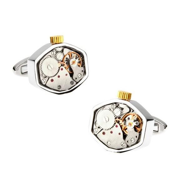 Octagon Silver Watch Movement Cufflinks