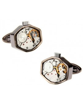 Octagon Gunmetal Watch Movement Cufflinks