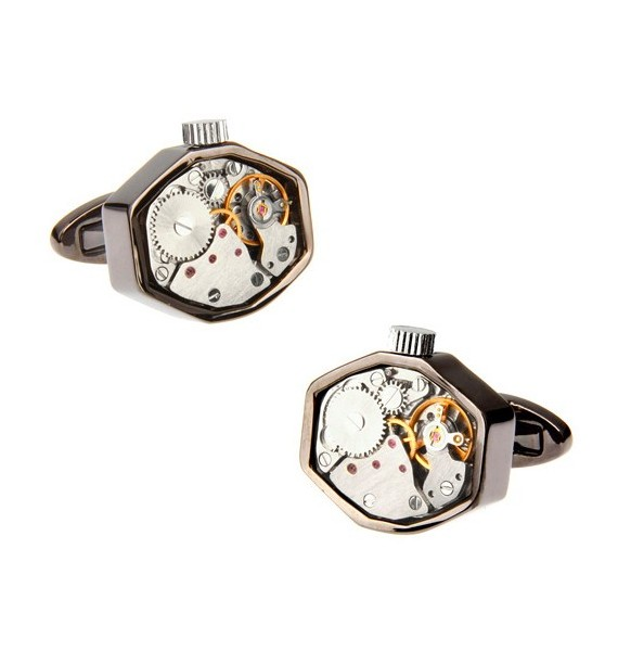 Octagon Gunmetal Watch Movement Cufflinks