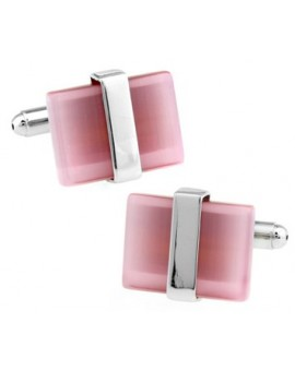 Silver Wrapped Pink Catseye Cufflinks