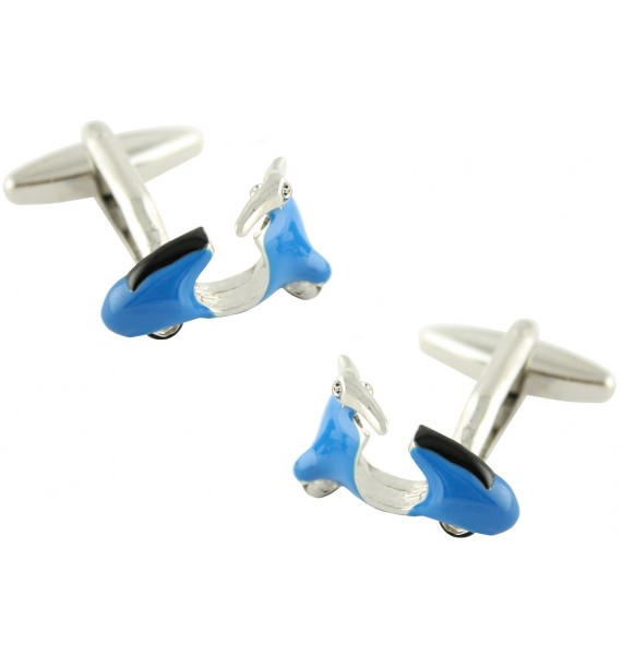 3D Blue Vespa Cufflinks