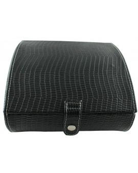 Black Leather 14-P Cufflink Case
