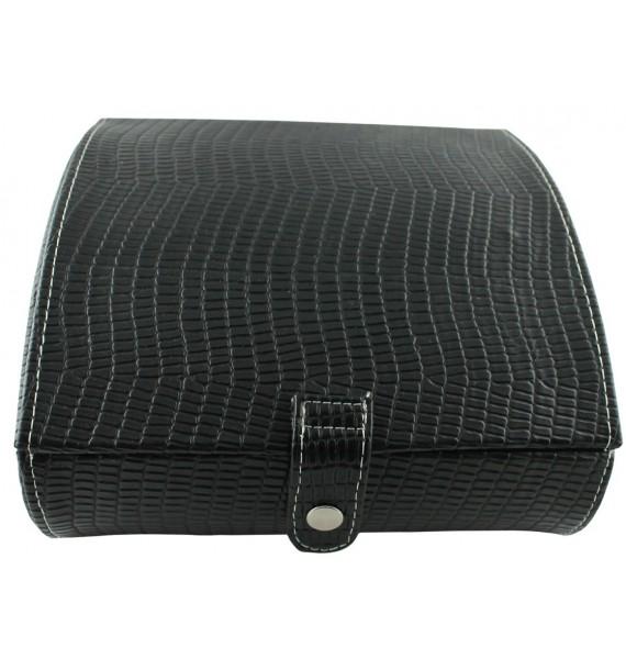 Black Leather 14-P Cufflink Case
