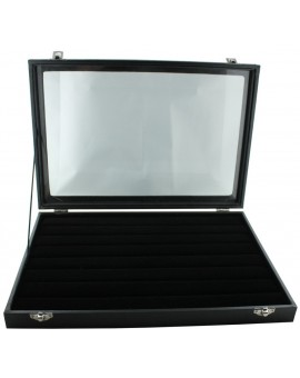 Black Wooden 42-P Cufflink Case