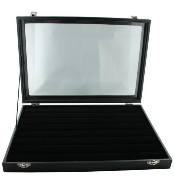 Black Wooden 42-P Cufflink Case