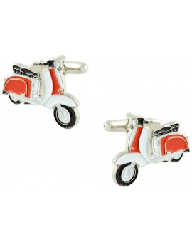 White and Red Vespa Cufflinks