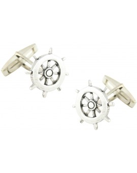 Sterling Silver Boat Wheel Cufflinks