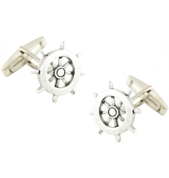 Sterling Silver Boat Wheel Cufflinks