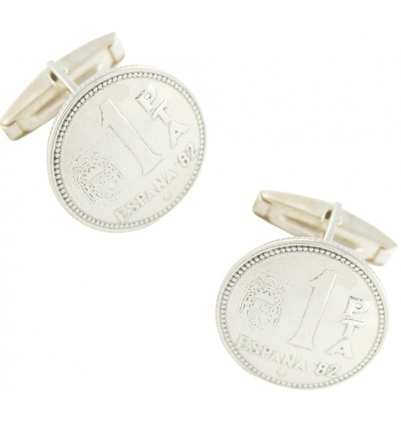 Sterling Silver Spanish Peseta Cufflinks