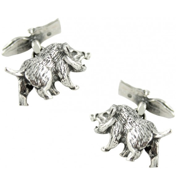 Sterling Silver Wild Boar Cufflinks