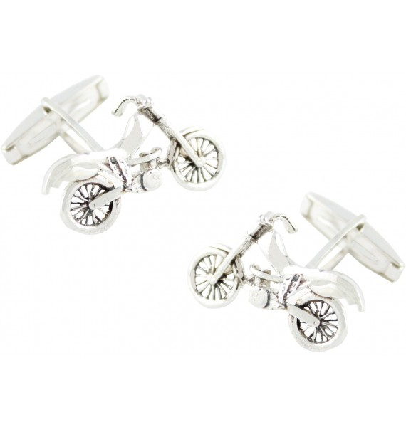 Sterling Silver Motocross Bike Cufflinks