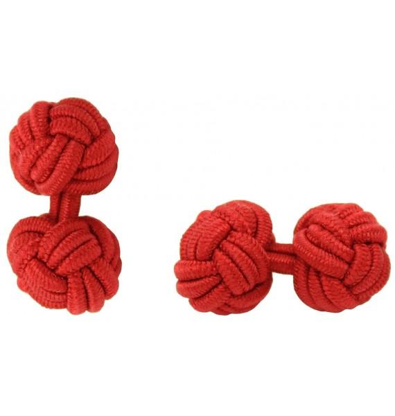 Deep Red Silk Knot Cufflinks