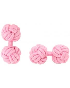Pink Silk Knot Cufflinks
