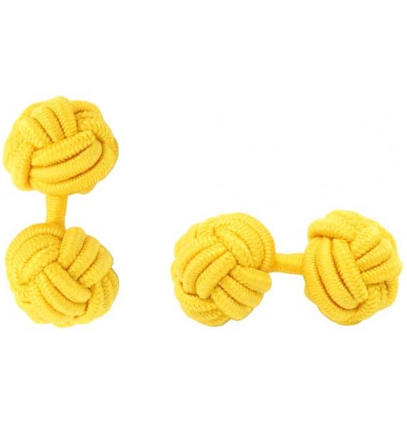 Dark Yellow Silk Knot Cufflinks
