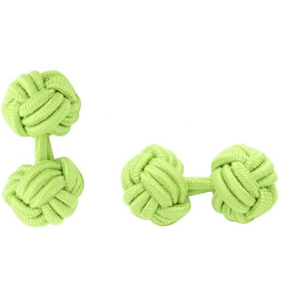Pistachio Green Silk Knot Cufflinks
