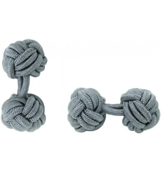 Grey Silk Knot Cufflinks