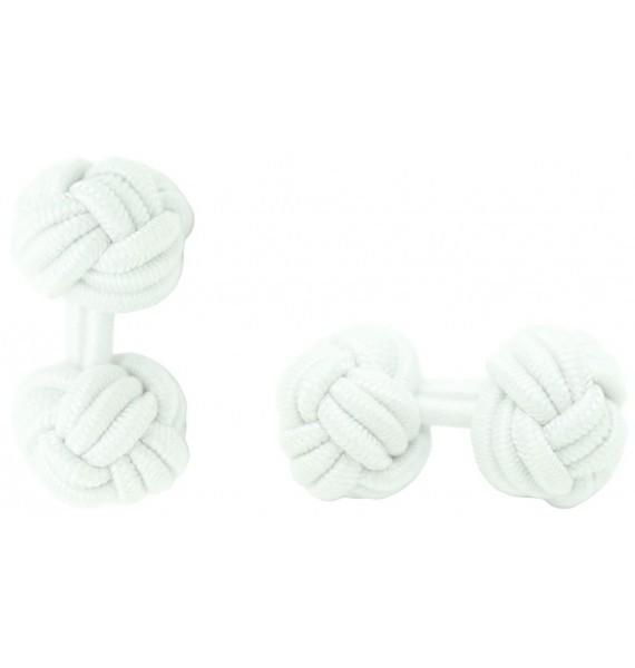 White Silk Knot Cufflinks
