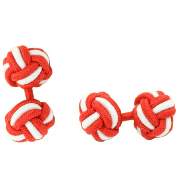 Red and White Silk Knot Cufflinks