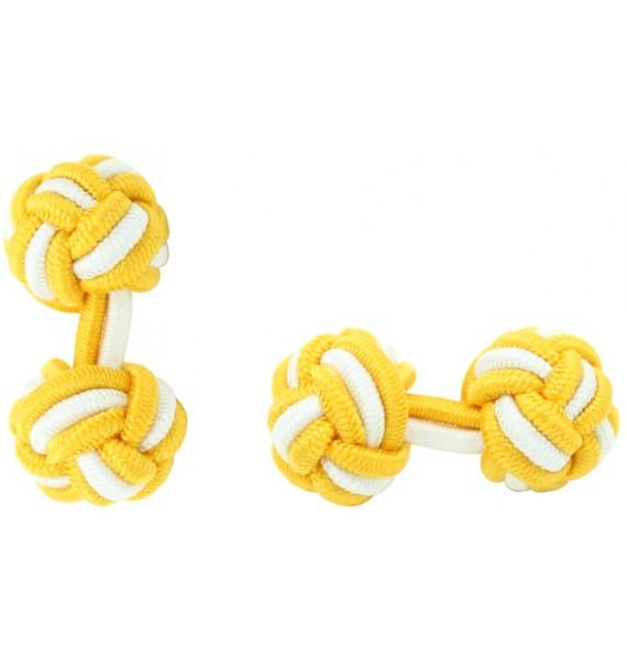 Dark Yellow and White Silk Knot Cufflinks