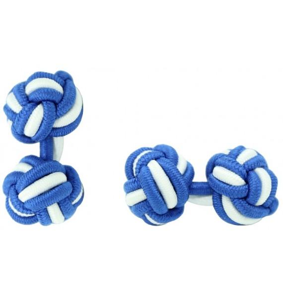 Cobalt Blue and White Silk Knot Cufflinks