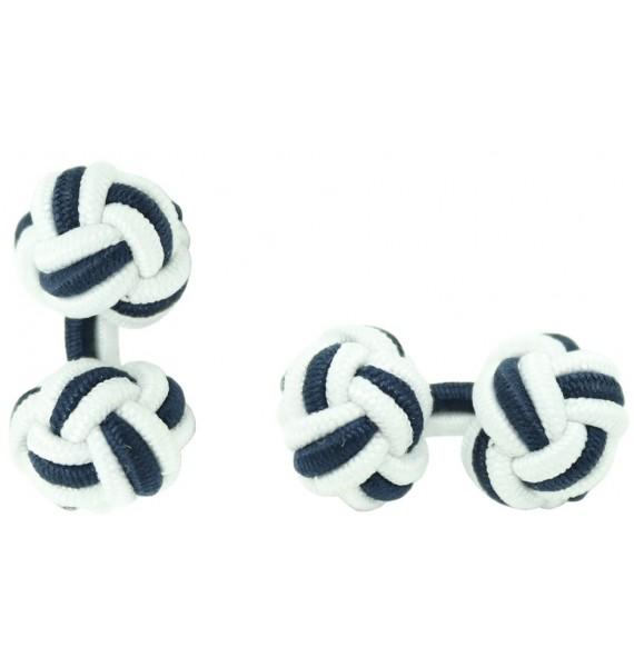 White and Navy Blue Silk Knot Cufflinks