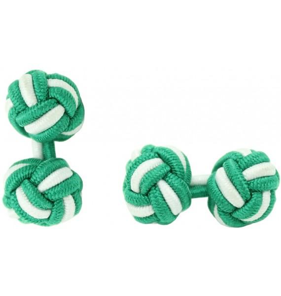 Green and White Silk Knot Cufflinks