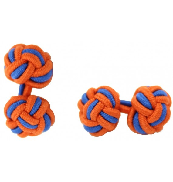 Dark Orange and Cobalt Blue Silk Knot Cufflinks