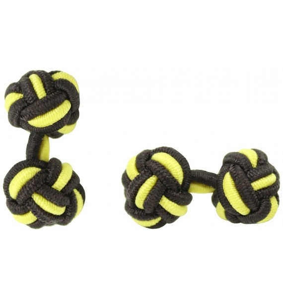 Dark Brown and Yellow Silk Knot Cufflinks