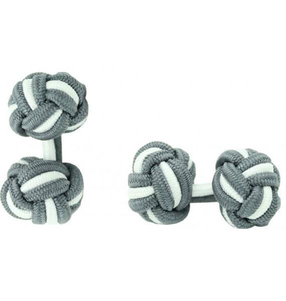 Grey and White Silk Knot Cufflinks