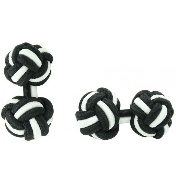 Black and White Silk Knot Cufflinks