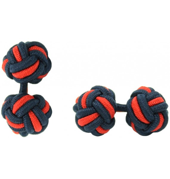 Navy Blue and Red Silk Knot Cufflinks