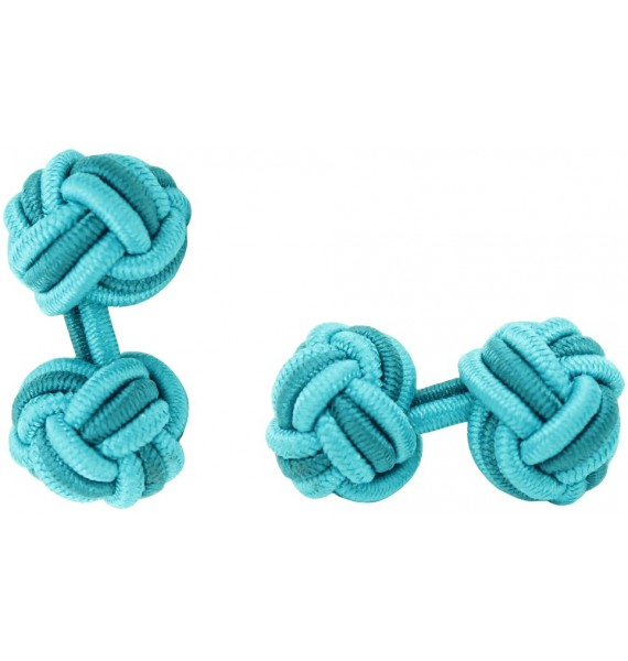 Turquoise and Bottle Green Silk Knot Cufflinks