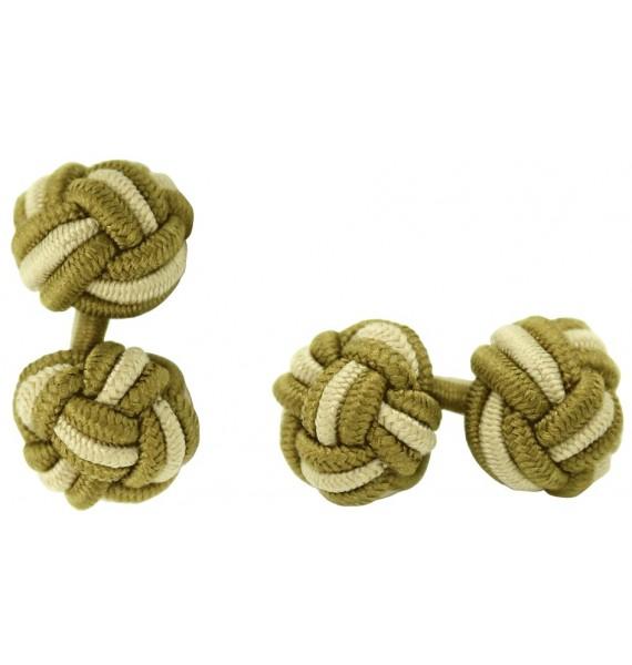Dark Ochre and Beige Silk Knot Cufflinks