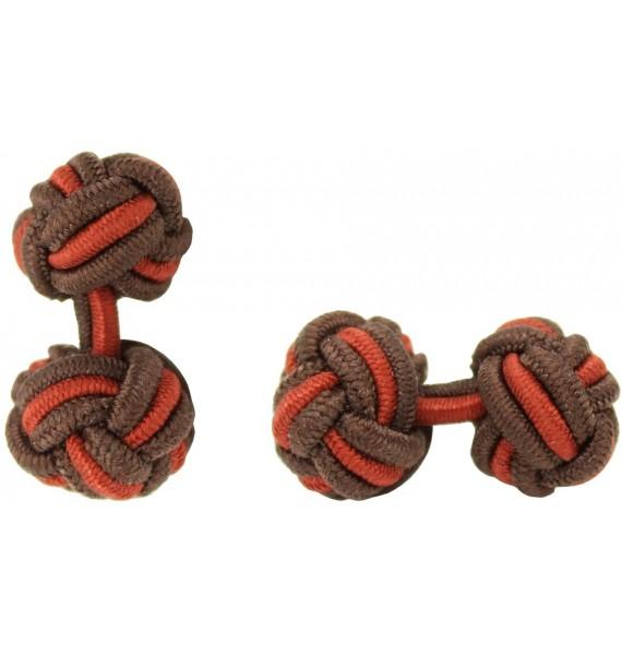 Brown and Dark Red Silk Knot Cufflinks