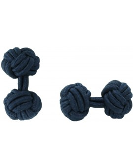 Navy Blue Silk Knot Cufflinks