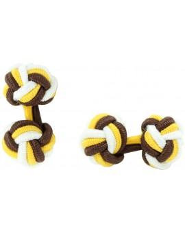 Gemelos Bola Elástico Marrón, Amarillo Oscuro y Blanco