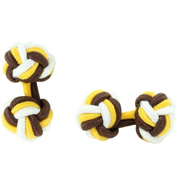 Brown, Dark Yellow and White Silk Knot Cufflinks