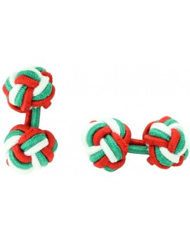 Red, Green and White Silk Knot Cufflinks