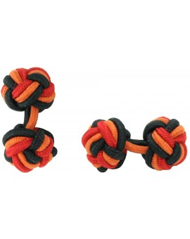 Black, Dark Orange and Deep Red Silk Knot Cufflinks