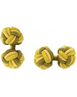 Dark Ochre, Camel and Yellow Ochre Silk Knot Cufflinks