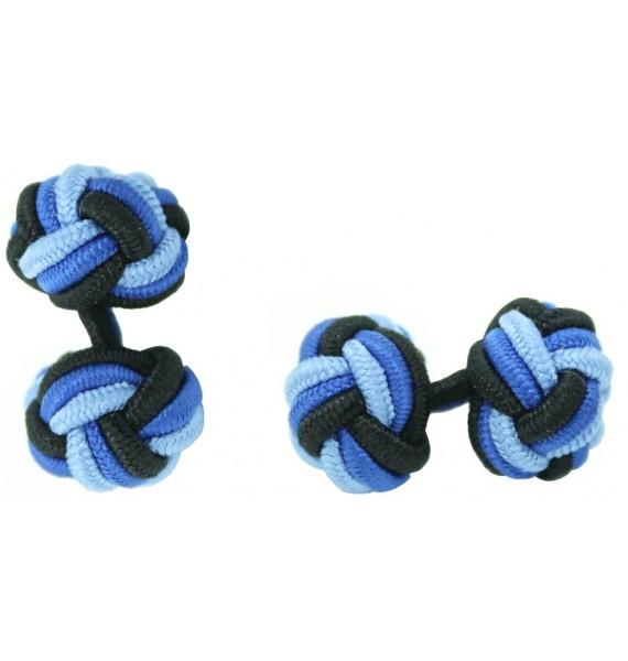Black, Cobalt Blue and Light Blue Silk Knot Cufflinks