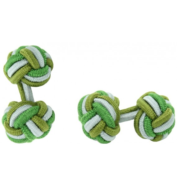 Olive Green, Grey and Grass Green Silk Knot Cufflinks
