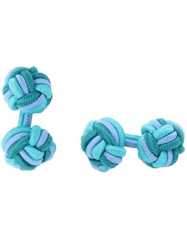 Tuquoise, Light Blue and Bottle Green Silk Knot Cufflinks