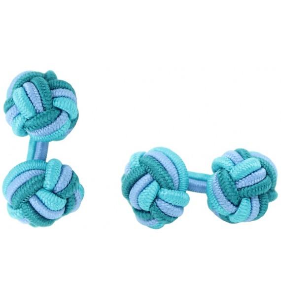 Tuquoise, Light Blue and Bottle Green Silk Knot Cufflinks