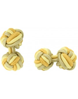 Beige, Light Yellow and Camel Silk Knot Cufflinks