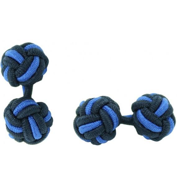 Navy Blue and Cobalt Blue Silk Knot Cufflinks